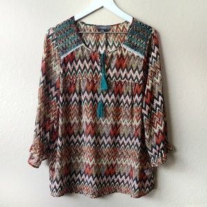 Umgee Brown & Orange Boho Embroidered Sheer Top XL